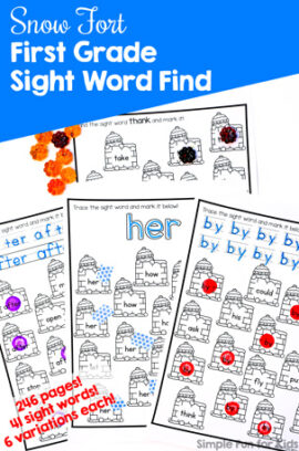 Snow Fort First Grade Sight Word Find Printable