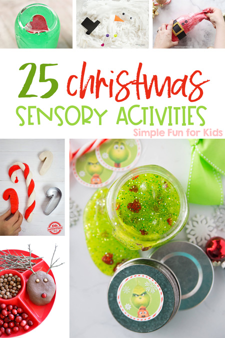 Check out this big list of the 25+ best Christmas sensory activities for kids of all ages! Play dough, slime, sensory bins, sensory bags, snowmen, reindeer, the Grinch - it's all here for your toddler, preschooler, kindergartener, and older kids!