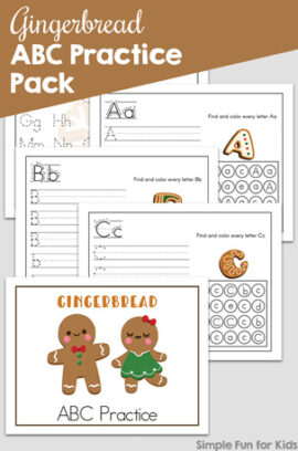 Gingerbread ABC Practice Pack Printable