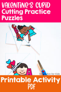 Let your preschooler or kindergartener cut his or her own puzzles! These cute no-prep printable Valentine's Cupid Cutting Practice Puzzles channel cutting practice into a useful activity!