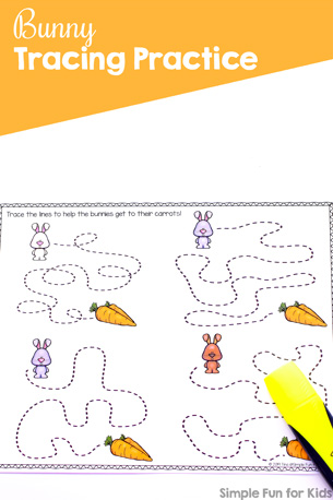 Practice fine motor skills with cute bunnies and no prep: Bunny Tracing Practice for Preschoolers and Kindergarteners (Day 1 of the 7 Days of Bunny Printables for Kids).