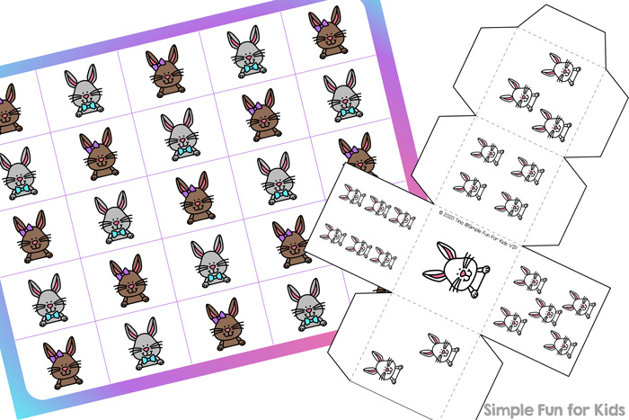 Printable games for preschoolers are a great way to practice counting, taking turns, and 1:1 correspondence: Bunny Grid Game (Day 3 of the 7 Days of Bunny Printables series.)