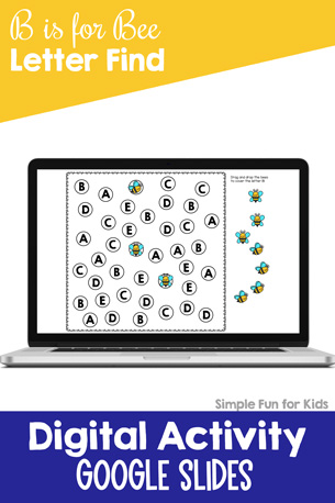 Practice recognizing letter B in uppercase, lowercase, and mixed case with this B is for Bee digital letter find for Google Slides and Google Classroom! Perfect for preschool and kindergarten.