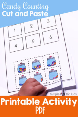 Candy Counting Cut and Paste Worksheet