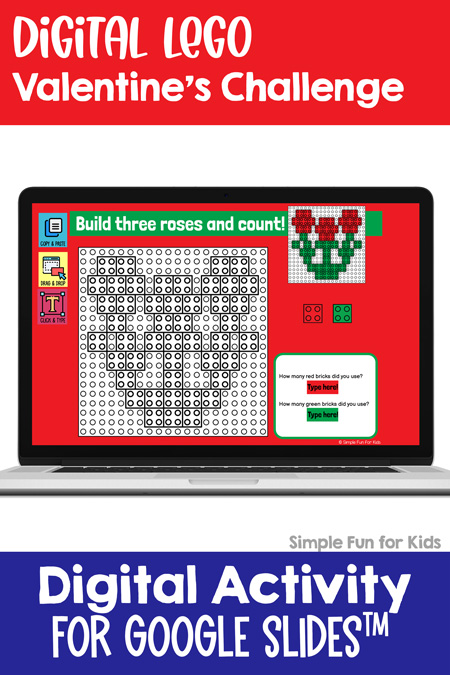 Ten fun and engaging EDITABLE Valentine's-themed digital LEGO challenges for distance learning with Google Slides and Google Classroom. Students can practice skills such as copying & pasting, dragging & dropping, typing in text boxes, and counting in a super-engaging way.