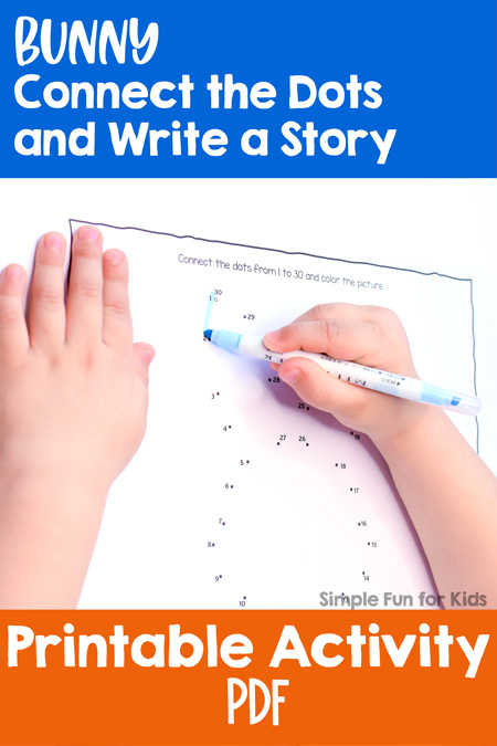 Combine math and literacy with this Bunny Connect the Dots and Write a Story printable activity! Differentiated for different levels from kindergarteners to elementary students.