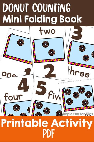 Donut Counting Mini Folding Book Printable