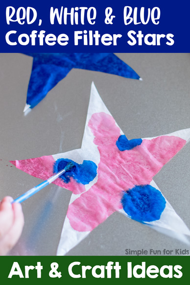 Red, White, and Blue Coffee Filter Stars