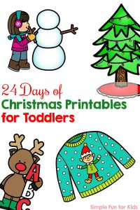 Sign up and follow along with the 24 Days of Christmas Printables for Toddlers! Perfect for little learners who are working on matching, basic number and letter recognition, colors, and more! Lots of coloring, dot markers, matching games, and other fun stuff to do every day in December up until Christmas Eve.