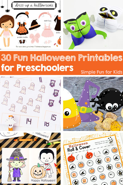 This is awesome! 30 fun Halloween printables for preschoolers including math and literacy learning printables, coloring pages, games, and more! My kindergartener is going to love it, too!
