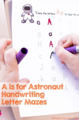 A is for Astronaut Handwriting Letter Mazes