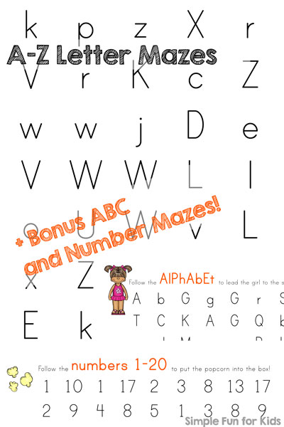 A Z Letter Mazes Bonus Abc And Number Mazes Simple Fun For Kids