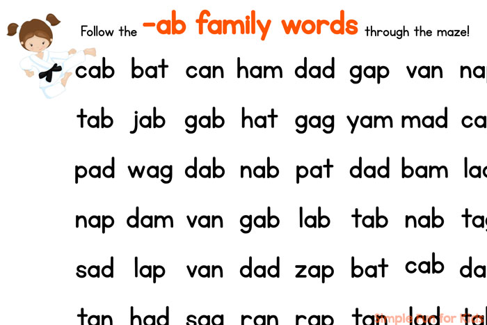 Practice reading CVC words with this printable -ab Family CVC Word Maze! A quick and simple early literacy activity for preschoolers and kindergarteners.