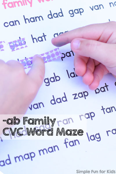 -ab Family CVC Word Maze Printable
