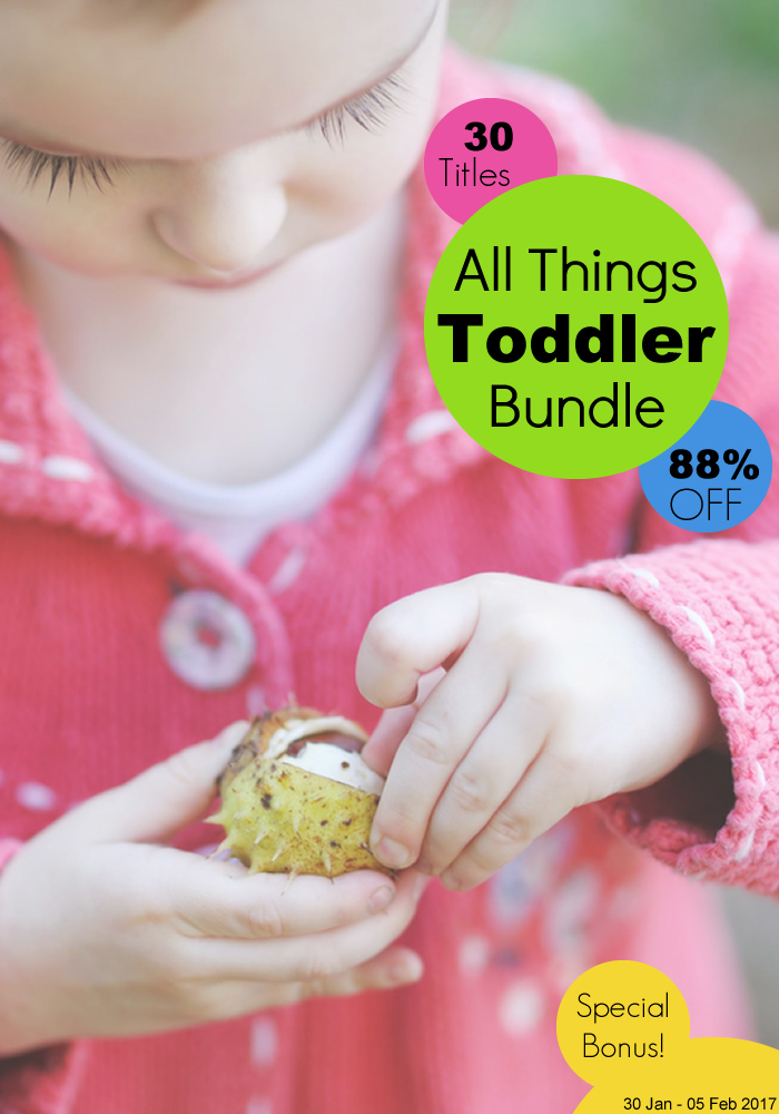 The All Things Toddler Bundle is only available for 7 days, so get it now! It includes 30 ebooks and printable packs with 1300+ pages and a total value of $175 that you can now save 65% on! Sensory activities, literacy, math, games, and so much more, everything you need to keep your toddler entertained and busy!