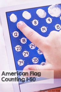 Practice counting up to 50 with this printable American Flag Fingerprint Counting activity! Fun and simple learning activity for preschoolers and kindergarteners.