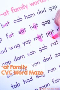 Work on fluency reading your CVC words with this -at Family CVC Word Maze! No prep required, just print and read. Fun for preschoolers, kindergarteners, and anyone learning to read!