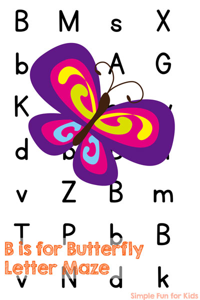 B is for Butterfly Letter Maze Printable