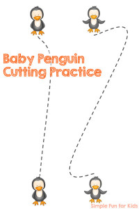 Free Printables for Kids: Work on those fine motor skills with this cute Baby Penguin Cutting Practice printable! Perfect for preschoolers and kindergartners.