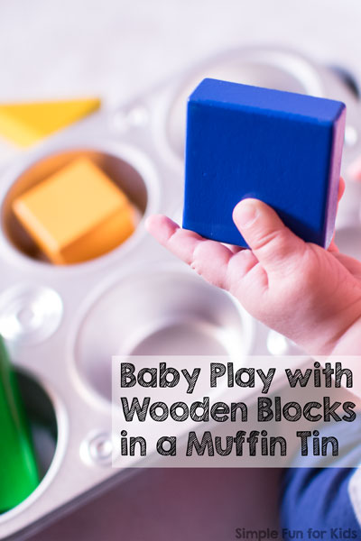 Baby Play with Wooden Blocks in a Muffin Tin