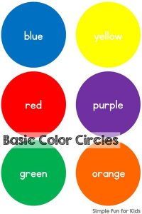 Simple basic color circles printable to practice color recognition, color sorting, color words, etc. Great for different learning activities for toddlers, preschoolers, and kindergarteners.