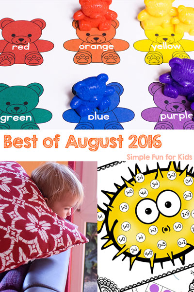 Which were the best new posts of August 2016 on Simple Fun for Kid? Check it out in this post - and I'm sharing my personal favorite with you, too! Sensory activities, printables, gross motor games, and more - I posted about all of it in August!