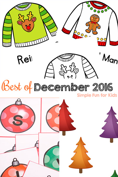 Check out the Best of December 2016 on Simple Fun for Kids! Lots of printables (including a series of 24 printables for toddlers), sensory activities, learning activities, and more for toddlers, preschoolers, and kindergarteners.