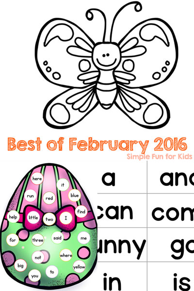 Have you missed any of the new posts on Simple Fun for Kids? Check out the Best of February 2016: Printables, sensory, sight words, Valentine's Day, Easter, St. Patrick's Day, and more for toddlers, preschoolers, and kindergartners.