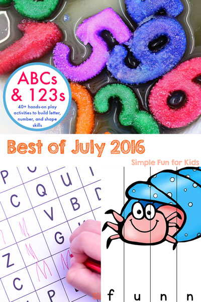 Come check out my round-up of all of the new posts I wrote in July 2016: Sensory activities, printables, learning activities, and more! Includes a closer look at the three most popular new posts and my personal favorite!