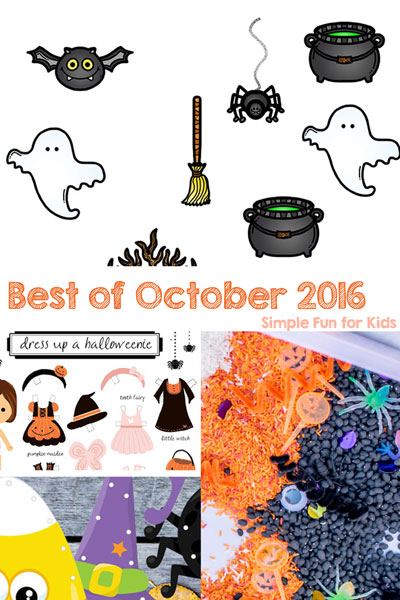 Here's the Best of October 2016 on Simple Fun for Kids: Sensory activities, printables, and more for toddlers, preschoolers, and kindergarteners.