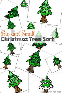 Work on basic size sorting for toddlers with this Big and Small Christmas Tree Sort activity! (Day 15 of the 24 Days of Christmas Printables for Toddlers.)