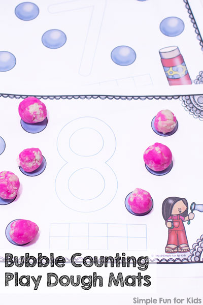Learning with free printables: Practice counting and numbers 1-10 with these cute bubble counting play dough mats! Perfect for toddlers and preschoolers.