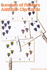 Practice addition up to 10 with your preschooler or kindergartener and these printable Bunches of Flowers Addition Clip Cards!