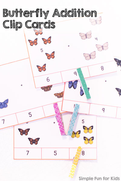 Learn addition up to 10 with these cute butterfly addition clip cards! Realistic butterfly images make learning simple math facts fun for older preschoolers and kindergartners.