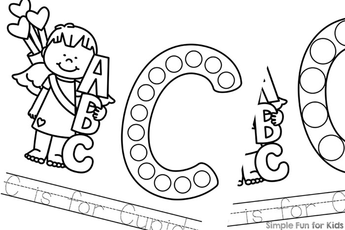 Learn about the letter c with these cute printable c is for cupid dot marker coloring