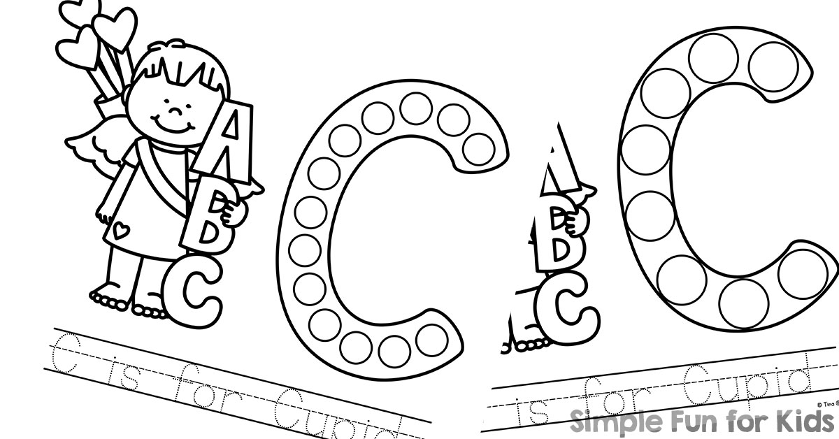 C is for cupid dot marker coloring pages simple fun for kids for Marker coloring page