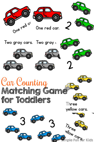 I'm introducing my 2-year-old to numbers using his favorite theme: This printable Car Counting Matching Game for Toddlers introduces numbers up to 3 with cars in six different colors. Great basic math practice while also working on important skills like fine motor, visual discrimination, visual scanning, and having fun!
