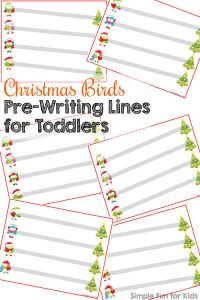 Help your toddler get ready for handwriting in a couple of years with these basic cute Christmas Birds Pre-Writing Lines for Toddlers! (Day 18 of 24 Days of Christmas Printables for Toddlers.)