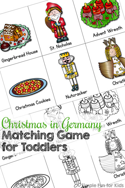 Learn about special German Christmas traditions with this printable Christmas in Germany Matching Game for Toddlers! (Day 20 of the 24 Days of Christmas Printables for Toddlers.)