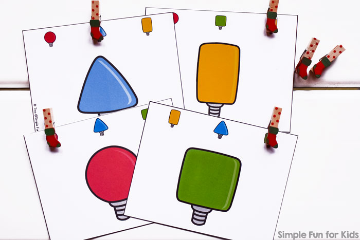 Day 11: Christmas Lights Shape Matching Clip Cards - Simple Fun ...