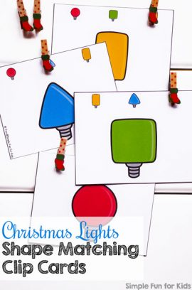Day 11: Christmas Lights Shape Matching Clip Cards