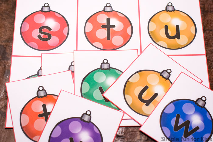 image about Letter Recognition Games Printable titled Working day 7: Xmas Ornament Decreased Scenario Letter Matching Activity