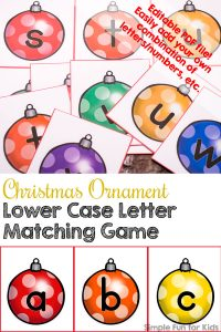 Matching games can be used for so many learning objectives! This one will work for letter and color recognition: Christmas Ornament Lower Case Letter Matching Game! (Day 7 of the 24 Days of Christmas Printables for Toddlers.)