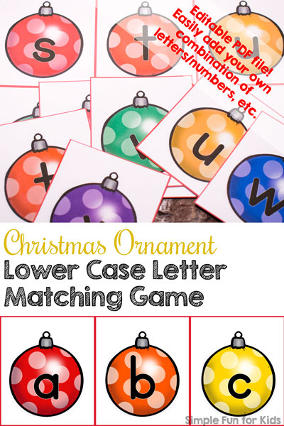 graphic relating to Letter Recognition Games Printable called Working day 7: Xmas Ornament Decrease Circumstance Letter Matching Sport