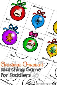 Great for toddlers working on visual discrimination skills, 1:1 correspondence, visual scanning, fine motor skills, color recognition, and more: Christmas Ornament Matching Game! (Day 17 of 24 Days of Christmas Printables for Toddlers.)