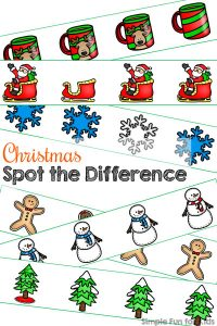 This Christmas Spot the Difference printable is super cute and perfect for working on visual discrimination with toddlers! The images have lots of details to talk about, and the differences are very obvious. (Day 22 of the 24 Days of Christmas Printables for Toddlers.)