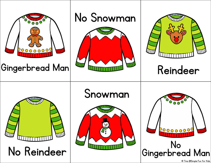 For day 2 of the 24 Days of Christmas Printables for Toddlers, I have a cute simple Christmas Sweater Matching Game for Toddlers! Includes color and black and white pages with and without words.