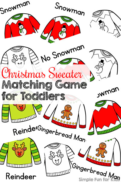 Day 2: Christmas Sweater Matching Game for Toddlers