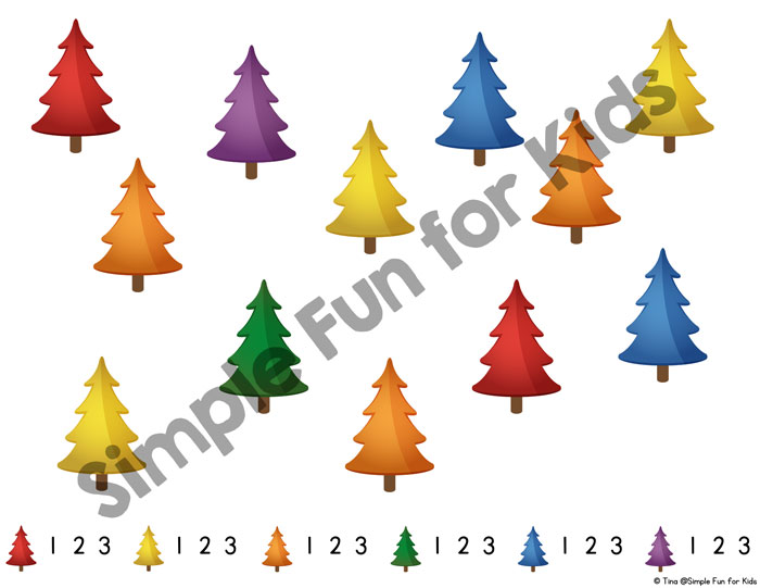 Toddlers can play I Spy, too! Simplified printable Christmas Tree I Spy Game for Toddlers as an introduction to talking about colors, visual discrimination, and counting up to 3. (Day 3 of the 24 Days of Christmas Printables for Toddlers.)