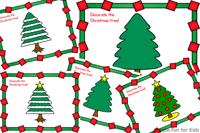 Decorate a Christmas tree the sensory way with these cute printable Christmas Tree Play Dough Mats for toddlers, preschoolers, and older kids! (Day 19 of 24 Days of Christmas Printables for Toddlers.)